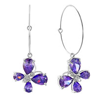Earrings - birthstone amethyst purple drop swarovski element crystal butterfly animal hoop earrings Image.