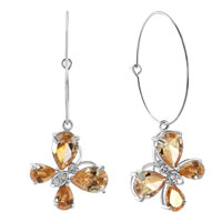 Earrings - birthstone topaz yellow drop swarovski element crystal butterfly animal hoop earrings Image.