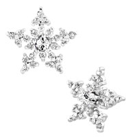 Earrings - snowflake clear white rhinestone swarovski crystal stud earrings Image.