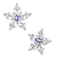 Earrings - snowflake alexandrite amethyst rhinestone swarovski crystal stud earrings Image.