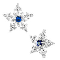 Earrings - snowflake sapphire blue rhinestone swarovski crystal stud earrings Image.