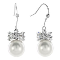 Earrings - clear white rhinestone swarovski crystal bowknot dangle shell freshwater cultured pearl earrings Image.
