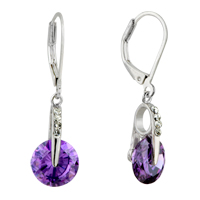 Earrings - february purple circle swarovski crystal leverback earrings Image.