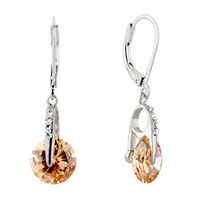 Earrings - champagne vehicle wheel swarovski crystal leverback earrings Image.