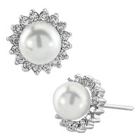 Earrings - clear white rhinestone swarovski crystal shell freshwater cultured pearl stud earrings Image.