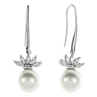 Earrings - clear white swarovski crystal crown shell freshwater cultured pearl earrings Image.