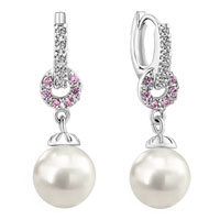 Earrings - pink crystal shell freshwater cultured pearl round drop earrings Image.