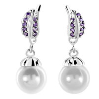 Earrings - alexandrite amethyst crystal shell freshwater cultured pearl round drop earrings Image.
