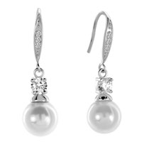 Earrings - clear white asscher cut cz cubic zirconia crystal dangle shell freshwater cultured pearl earrings Image.