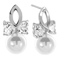 Earrings - clear white asscher cut cz cubic zirconia crystal bowknot dangle shell freshwater cultured pearl earrings Image.