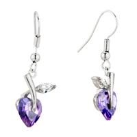 Earrings - february purple flower leaf swarovski crystal dangle earrings Image.