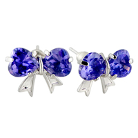 Earrings - february purple swarovski crystal butterfly earrings Image.