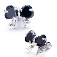 New Year Deals - black crystal bowknot stud earrings Image.