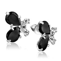 Earrings - 925  sterling silver black crystal butterfly cubic zirconia cz earrings Image.