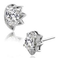Earrings - 925  sterling silver april birthstone crown cubic zirconia cz earrings Image.