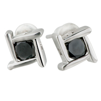 Earrings - black swarovski crystal square stud earrings Image.