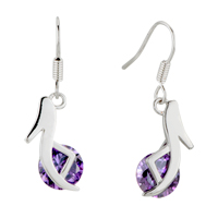 Earrings - february purple high heeled shoes swarovski crystal re dangle earrings Image.