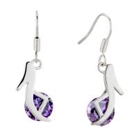 Earrings - february purple high heeled shoes swarovski crystal re dangle earrings Image.