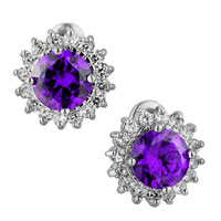 Earrings - fashion amethyst purple shinning sunflower crystals stud earrings Image.