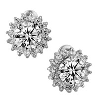 Earrings - 925  sterling silver april birthstone sunflower cubic zirconia cz earrings Image.
