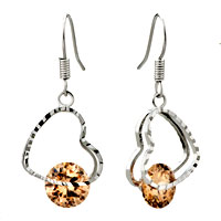 Earrings - november yellow drop swarovski crystal earrings Image.