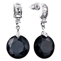 Earrings - black crystal olive leafstud earrings Image.