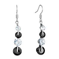 Earrings - black white crystal dangle earrings Image.