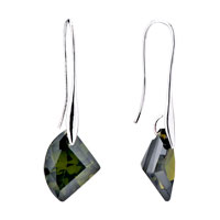 Earrings - diamond shaped green crystal dangle earrings Image.