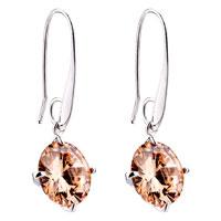 Earrings - yellow round topaz crystal dangle citrine earrings Image.