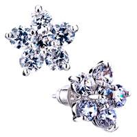 Earrings - clear flower april birthstone crystal stud earrings Image.