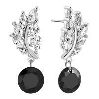 Earrings - birthstone leaf dangle black color crystal hoop stud earrings Image.