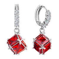 Earrings - hoop dangle square red crystal july birthstone earrings Image.