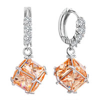 Earrings - hoop dangle square citrine crystal november birthstone earrings Image.