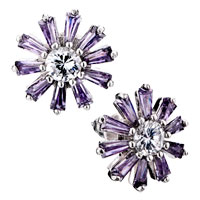 Earrings - purple daisy crystal stud earrings Image.