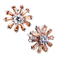 Earrings - yellow daisy crystal stud earrings Image.