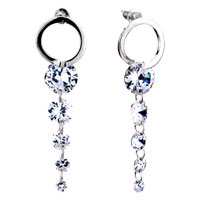 Earrings - clear april dangling linked crystal dangle earrings Image.