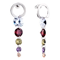 Earrings - multicolour dangling linked crystalstud earrings Image.