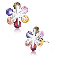 Earrings - colorful crystal snowflake like flower stud earrings Image.