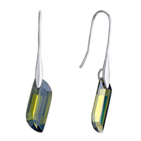 Earrings - beautiful olivine rhinestone crystal utopian rectangle dangle earrings Image.