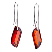 Earrings - red crystal s shape dangle earrings for women Image.