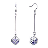 Earrings - filigree vintage purple crystal in square dangle hook earrings Image.