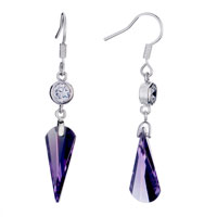 Earrings - purple vertebral crystal february birthstone dangle earrings gift Image.