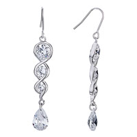 Earrings - spiral crystal dangle white drop earrings gift Image.