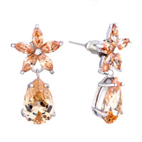 Earrings - classy topaz crystal november birthstone flower dangle drop earrings gift Image.