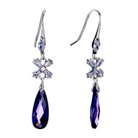 Earrings - classy cross crystal dangle purple february birthstone earrings Image.