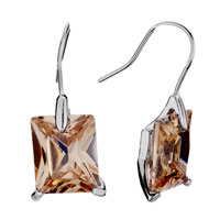 Earrings - square topaz crystal november birthstone dangle earrings gift Image.