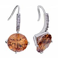 Earrings - big topaz crystal november birthstone dangle earrings gift Image.