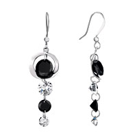 Earrings - black interval white crystal dangle earrings gift Image.