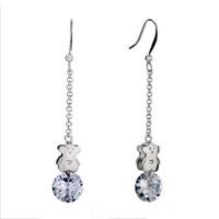 Earrings - baby teddy bear heart forever love white crystal april birthstone dangle earrings gift Image.