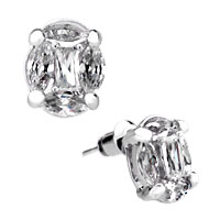 Earrings - classic clear crystal april birthstone stud silver/ p earrings gift Image.